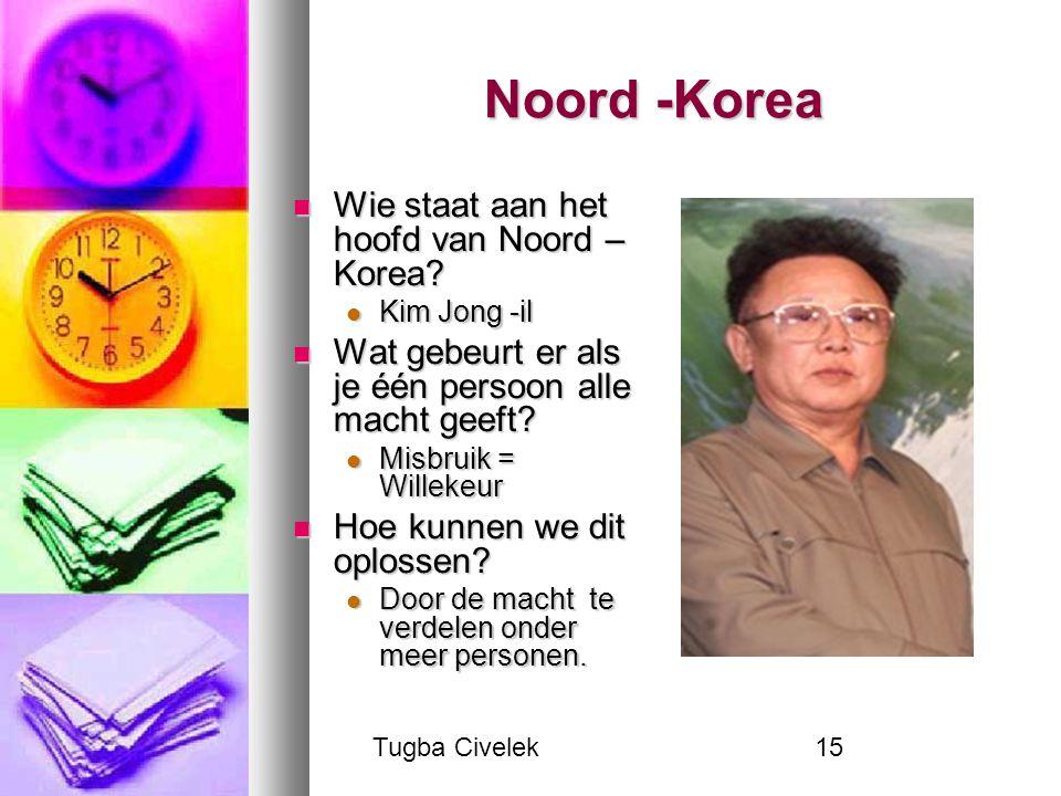 Tugba Civelek15 Noord -Korea Wie staat aan het hoofd van Noord – Korea? Wie staat aan het hoofd van Noord – Korea? Kim Jong -il Kim Jong -il Wat gebeu