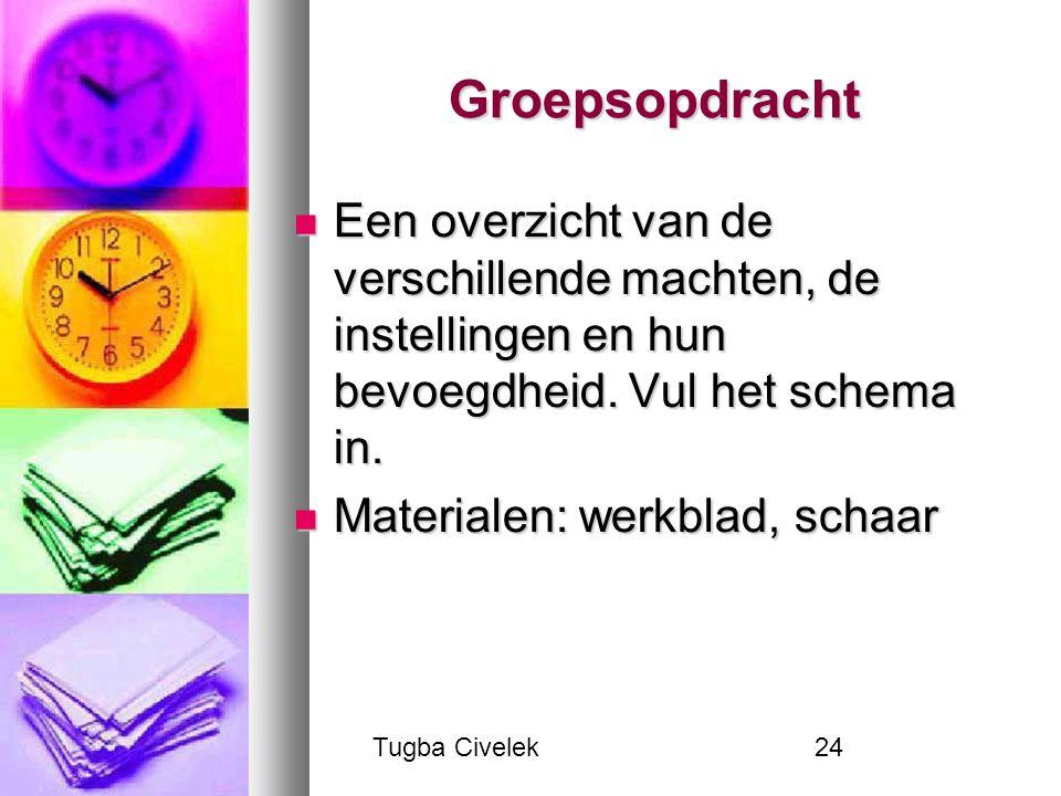 Tugba Civelek24 Groepsopdracht Een overzicht van de verschillende machten, de instellingen en hun bevoegdheid. Vul het schema in. Een overzicht van de