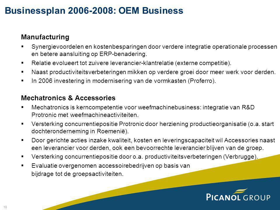 16 Manufacturing  Synergievoordelen en kostenbesparingen door verdere integratie operationale processen en betere aansluiting op ERP-benadering.  Re