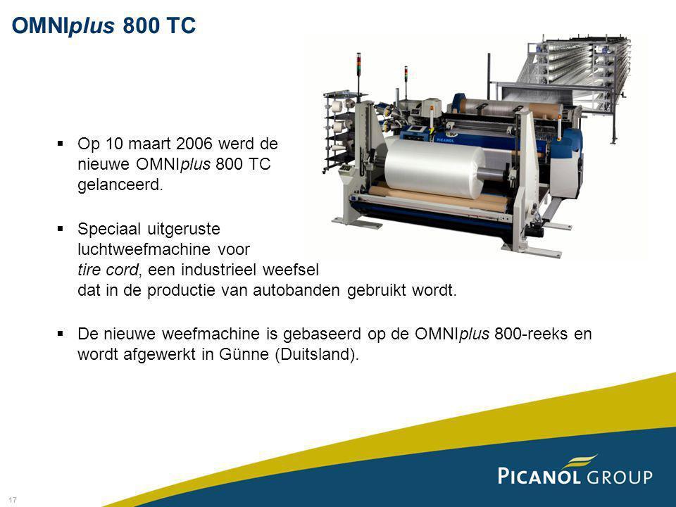 17  Op 10 maart 2006 werd de nieuwe OMNIplus 800 TC gelanceerd.  Speciaal uitgeruste luchtweefmachine voor tire cord, een industrieel weefsel dat in