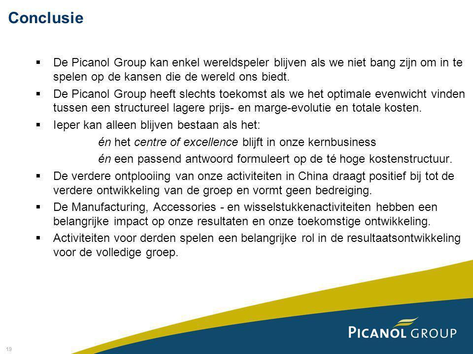 19  De Picanol Group kan enkel wereldspeler blijven als we niet bang zijn om in te spelen op de kansen die de wereld ons biedt.  De Picanol Group he