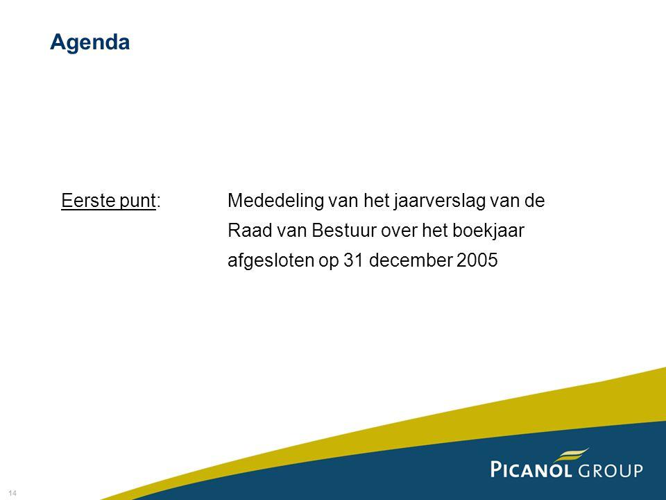 14 Eerste punt: Mededeling van het jaarverslag van de Raad van Bestuur over het boekjaar afgesloten op 31 december 2005 Agenda