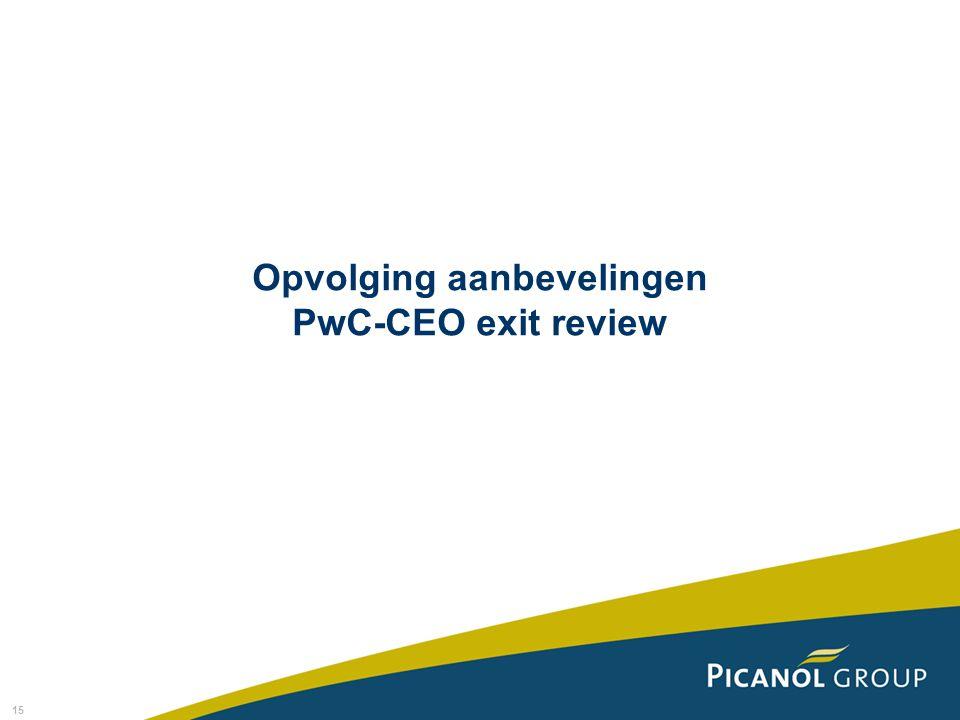 15 Opvolging aanbevelingen PwC-CEO exit review
