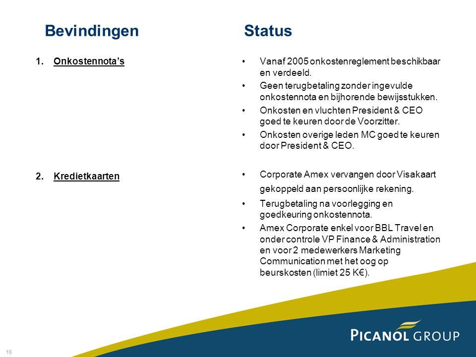 16 BevindingenStatus 1.Onkostennota's 2.Kredietkaarten Vanaf 2005 onkostenreglement beschikbaar en verdeeld.