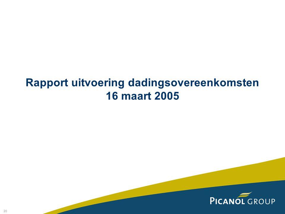 20 Rapport uitvoering dadingsovereenkomsten 16 maart 2005