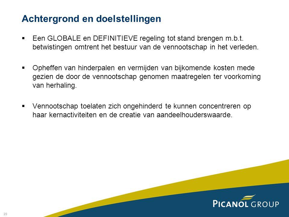 29 Achtergrond en doelstellingen  Een GLOBALE en DEFINITIEVE regeling tot stand brengen m.b.t.