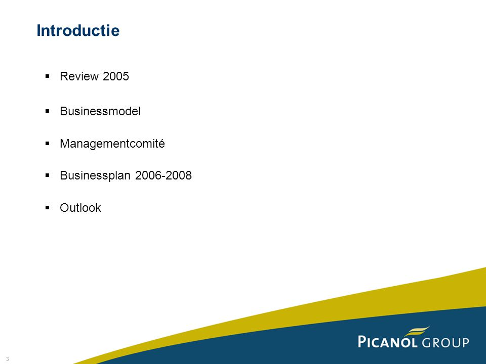 3  Review 2005  Businessmodel  Managementcomité  Businessplan 2006-2008  Outlook Introductie