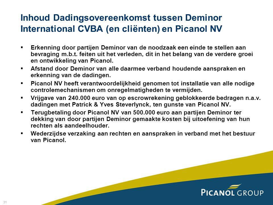 31 Inhoud Dadingsovereenkomst tussen Deminor International CVBA (en cliënten) en Picanol NV  Erkenning door partijen Deminor van de noodzaak een einde te stellen aan bevraging m.b.t.