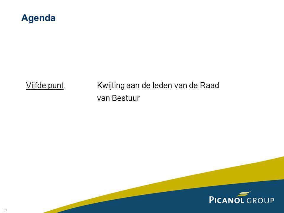 51 Vijfde punt: Kwijting aan de leden van de Raad van Bestuur Agenda