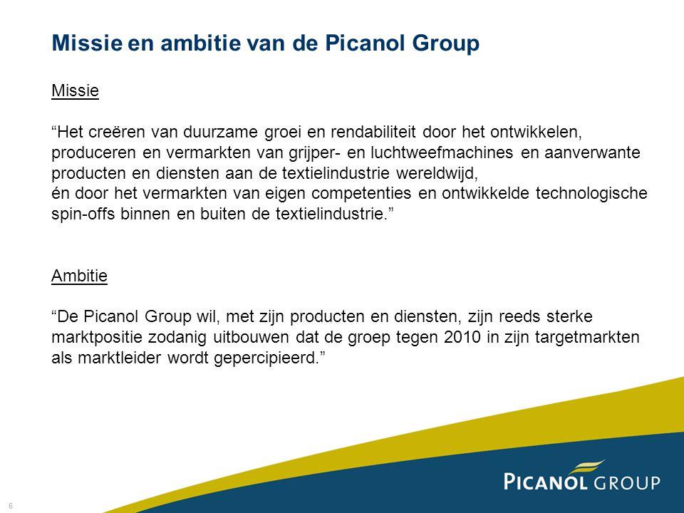 6 Missie Het creëren van duurzame groei en rendabiliteit door het ontwikkelen, produceren en vermarkten van grijper- en luchtweefmachines en aanverwante producten en diensten aan de textielindustrie wereldwijd, én door het vermarkten van eigen competenties en ontwikkelde technologische spin-offs binnen en buiten de textielindustrie. Ambitie De Picanol Group wil, met zijn producten en diensten, zijn reeds sterke marktpositie zodanig uitbouwen dat de groep tegen 2010 in zijn targetmarkten als marktleider wordt gepercipieerd. Missie en ambitie van de Picanol Group