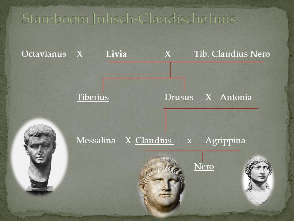 OctavianusXLiviaXTib. Claudius Nero TiberiusDrusus X Antonia Messalina XClaudius x Agrippina Nero