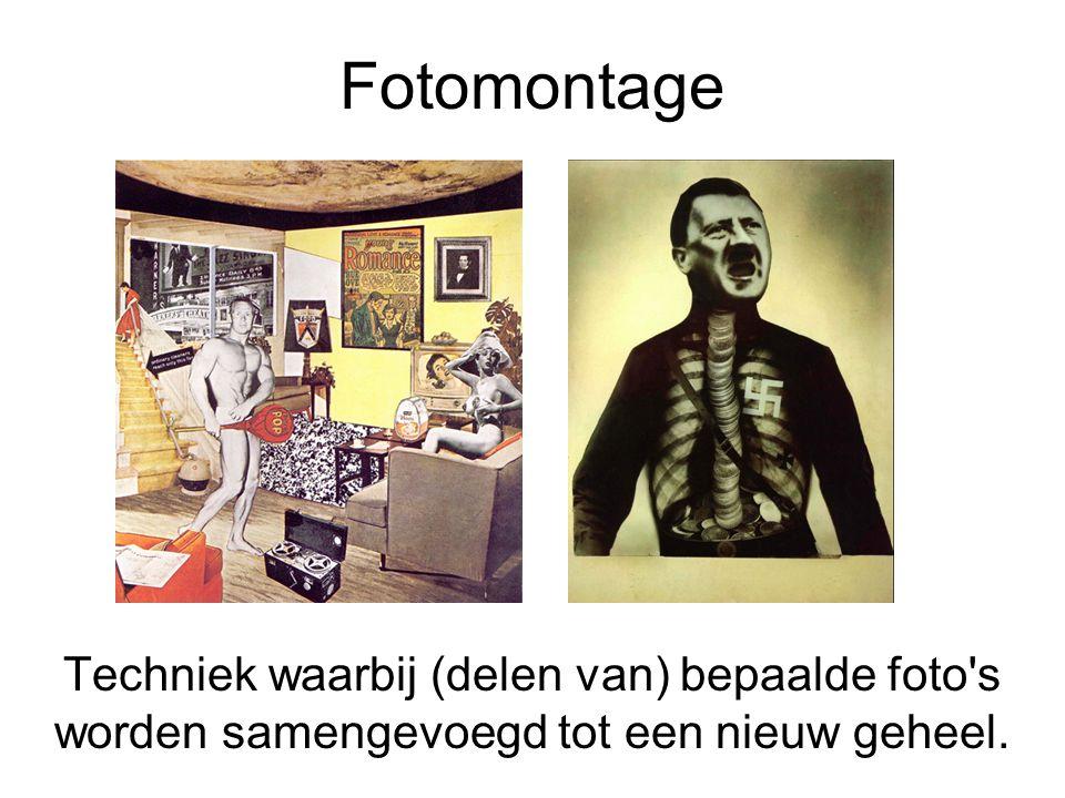 Fotomontage Techniek waarbij (delen van) bepaalde foto's worden samengevoegd tot een nieuw geheel.