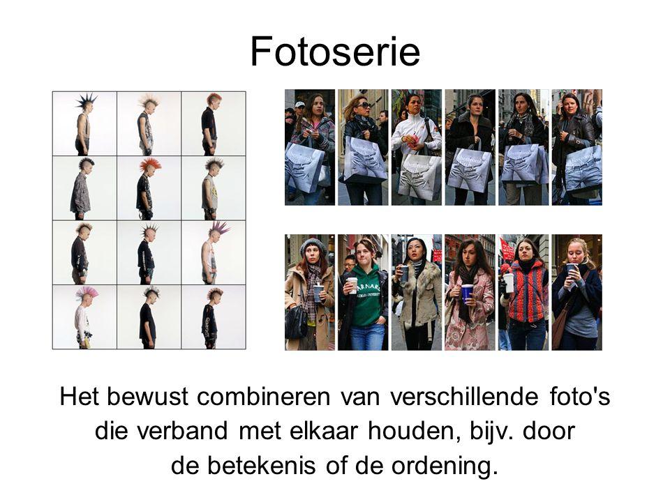 Fotoserie Het bewust combineren van verschillende foto's die verband met elkaar houden, bijv. door de betekenis of de ordening.