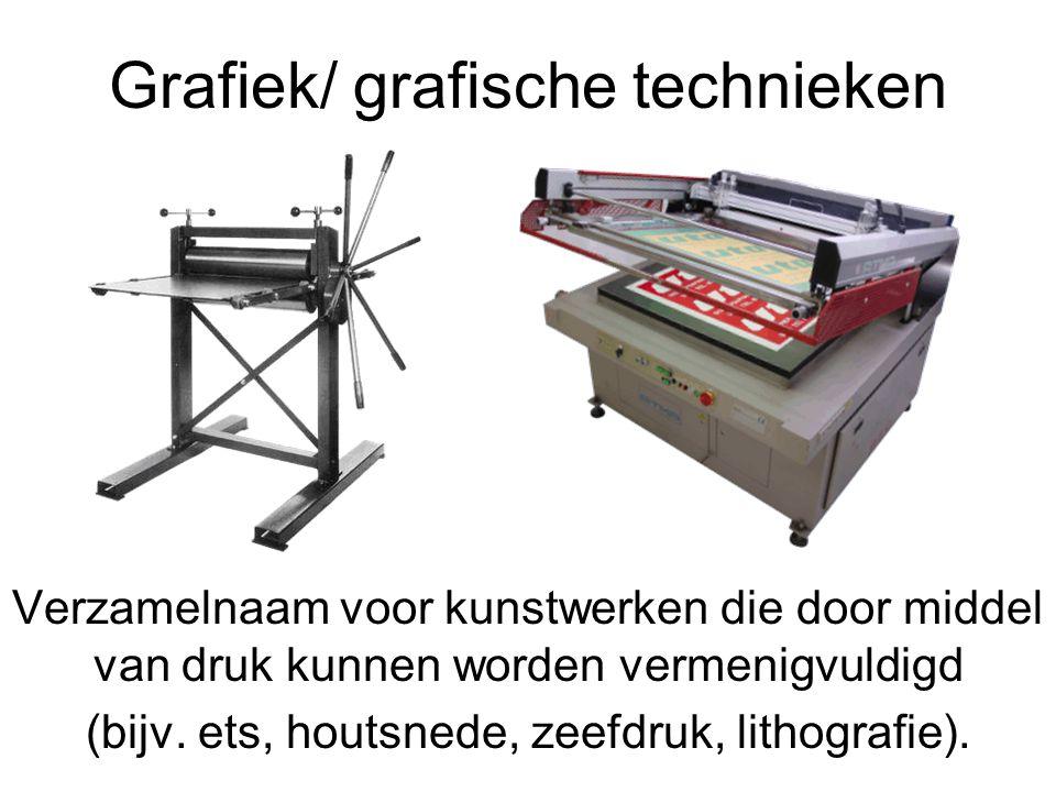 Grafiek/ grafische technieken Verzamelnaam voor kunstwerken die door middel van druk kunnen worden vermenigvuldigd (bijv. ets, houtsnede, zeefdruk, li