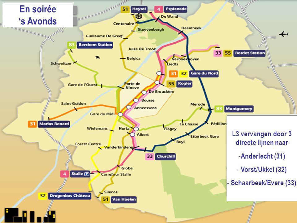 1318.06.2008 En soirée 's Avonds L3 vervangen door 3 directe lijnen naar - Anderlecht (31) - Vorst/Ukkel (32) - Schaarbeek/Evere (33)
