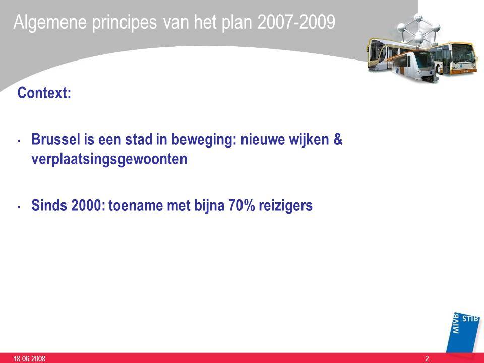 218.06.2008 Algemene principes van het plan 2007-2009 Context: Brussel is een stad in beweging: nieuwe wijken & verplaatsingsgewoonten Sinds 2000: toename met bijna 70% reizigers