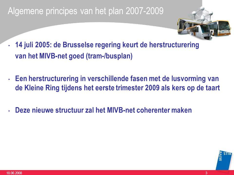 318.06.2008 14 juli 2005: de Brusselse regering keurt de herstructurering van het MIVB-net goed (tram-/busplan) Een herstructurering in verschillende fasen met de lusvorming van de Kleine Ring tijdens het eerste trimester 2009 als kers op de taart Deze nieuwe structuur zal het MIVB-net coherenter maken Algemene principes van het plan 2007-2009