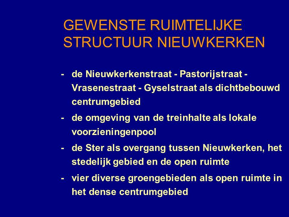 - de Wallenhofwijk als samenhangende, kwalitatieve woonomgeving -een stelsel van woonlinten, beken en voetwegen als verbinding tussen de kern en het landschap -het lokaal bedrijventerrein Heihoekstraat als economische pool van het hoofddorp GEWENSTE RUIMTELIJKE STRUCTUUR NIEUWKERKEN