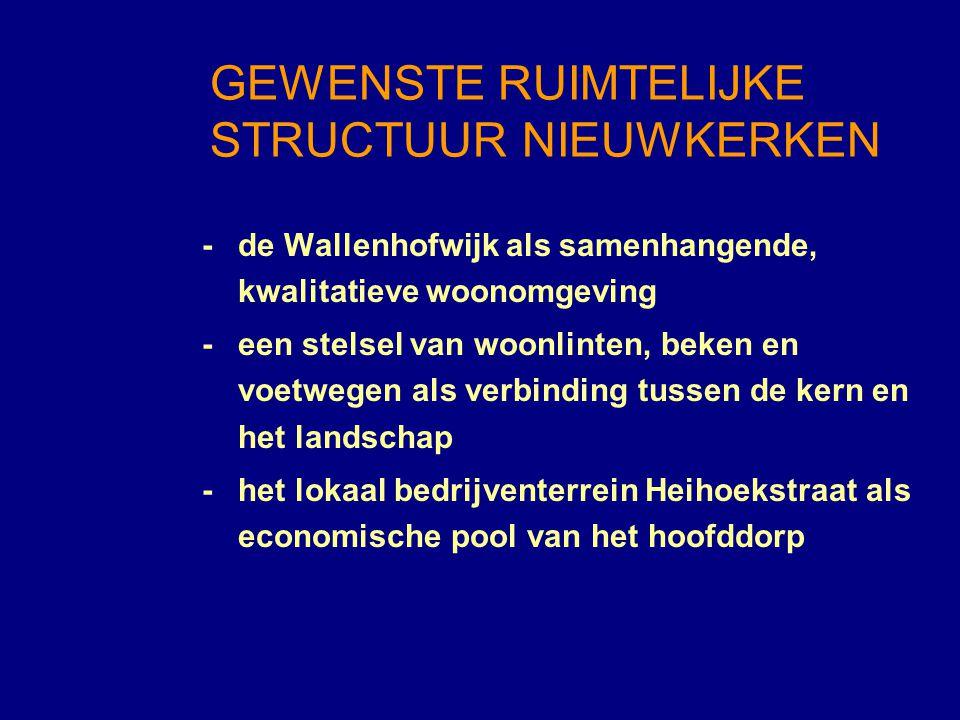- de Wallenhofwijk als samenhangende, kwalitatieve woonomgeving -een stelsel van woonlinten, beken en voetwegen als verbinding tussen de kern en het l