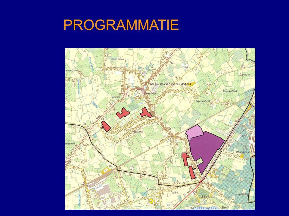 WONINGPROGRAMMATIE - taakstelling PRS (buitengebied)308 - raming woningbehoefte Nieuwkerken84 - aan te snijden gebieden - in woongebied (Heihoekstraat)51 - in WUG (Wallenhofwijk)101 LOKAAL BEDRIJVENTERREIN HEIHOEKSTRAAT - totale oppervlakte25,49 ha - benutte oppervlakte9,79 ha - nog te ontwikkelen15,70 ha - bijkomende oppervlakte+ 5 ha