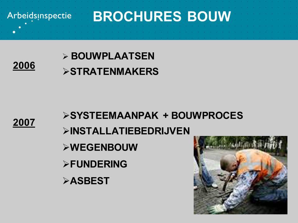 BROCHURES BOUW  BOUWPLAATSEN  STRATENMAKERS  SYSTEEMAANPAK + BOUWPROCES  INSTALLATIEBEDRIJVEN  WEGENBOUW  FUNDERING  ASBEST 2006 2007