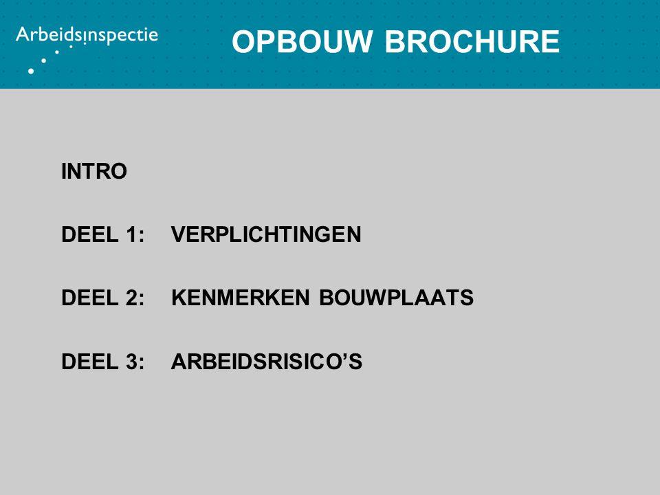 OPBOUW BROCHURE INTRO DEEL 1:VERPLICHTINGEN DEEL 2:KENMERKEN BOUWPLAATS DEEL 3:ARBEIDSRISICO'S