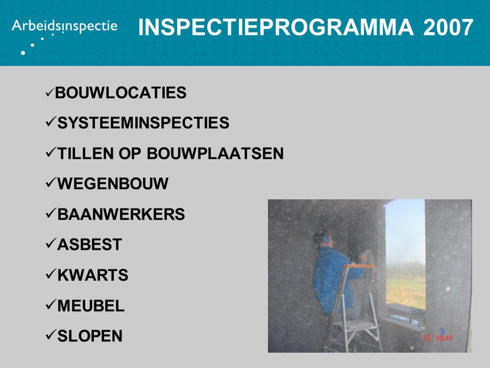 INSPECTIEPROGRAMMA 2007 BOUWLOCATIES SYSTEEMINSPECTIES TILLEN OP BOUWPLAATSEN WEGENBOUW BAANWERKERS ASBEST KWARTS MEUBEL SLOPEN