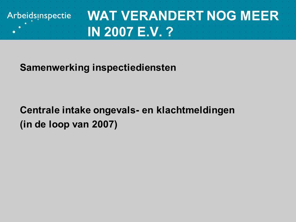 WAT VERANDERT NOG MEER IN 2007 E.V. ? Samenwerking inspectiediensten Centrale intake ongevals- en klachtmeldingen (in de loop van 2007)