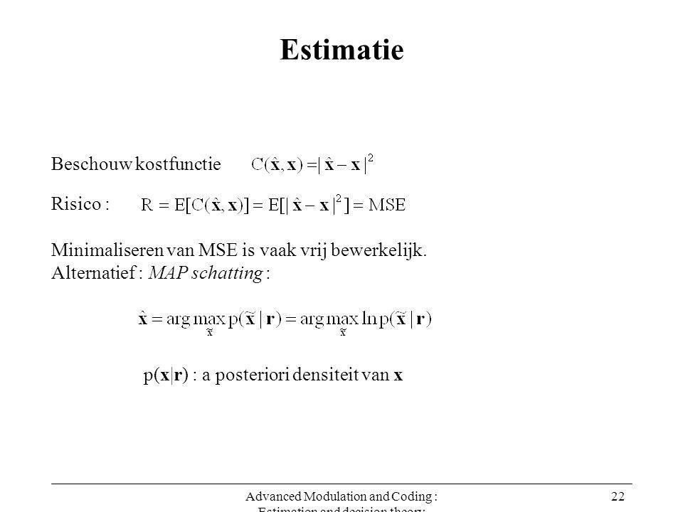 Advanced Modulation and Coding : Estimation and decision theory 22 Estimatie Beschouw kostfunctie Risico : Minimaliseren van MSE is vaak vrij bewerkelijk.