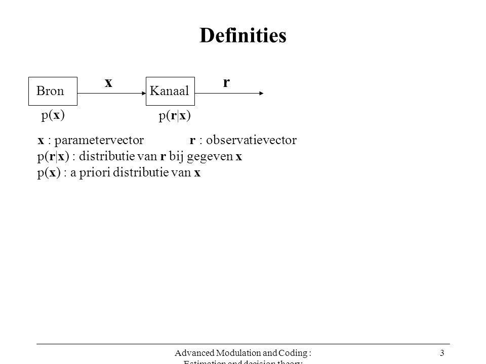 Advanced Modulation and Coding : Estimation and decision theory 3 Definities x : parametervector r : observatievector p(r|x) : distributie van r bij gegeven x p(x) : a priori distributie van x Bron x Kanaal r p(x) p(r|x)