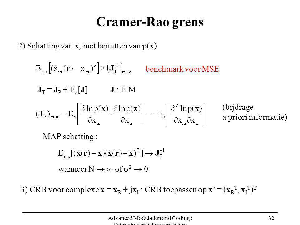 Advanced Modulation and Coding : Estimation and decision theory 32 Cramer-Rao grens 2) Schatting van x, met benutten van p(x) benchmark voor MSE MAP schatting : wanneer N   of  2  0 J T = J P + E x [J] J : FIM (bijdrage a priori informatie) 3) CRB voor complexe x = x R + jx I : CRB toepassen op x' = (x R T, x I T ) T