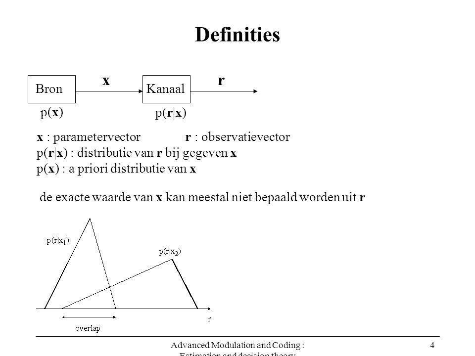 Advanced Modulation and Coding : Estimation and decision theory 4 Definities x : parametervector r : observatievector p(r|x) : distributie van r bij gegeven x p(x) : a priori distributie van x de exacte waarde van x kan meestal niet bepaald worden uit r Bron x Kanaal r p(x) p(r|x)
