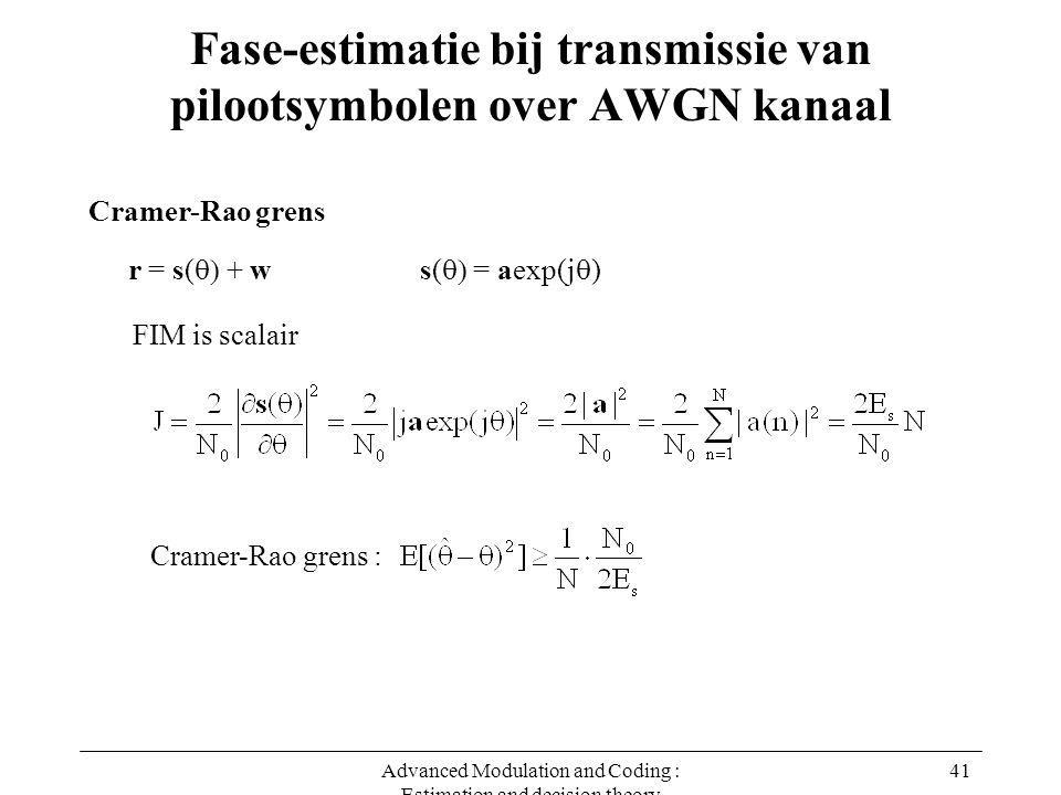 Advanced Modulation and Coding : Estimation and decision theory 41 Fase-estimatie bij transmissie van pilootsymbolen over AWGN kanaal Cramer-Rao grens r = s(  + ws(  = aexp(j  ) FIM is scalair Cramer-Rao grens :
