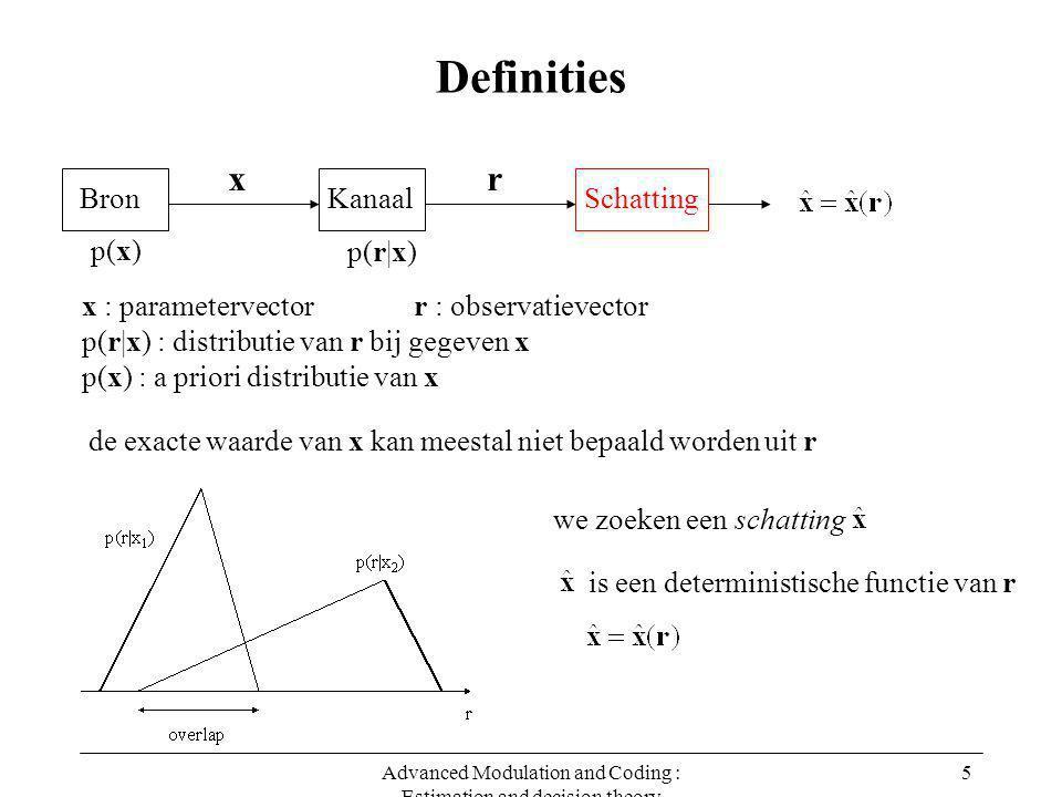 Advanced Modulation and Coding : Estimation and decision theory 5 Definities x : parametervector r : observatievector p(r|x) : distributie van r bij gegeven x p(x) : a priori distributie van x de exacte waarde van x kan meestal niet bepaald worden uit r we zoeken een schatting is een deterministische functie van r Bron x Kanaal r Schatting p(x) p(r|x)