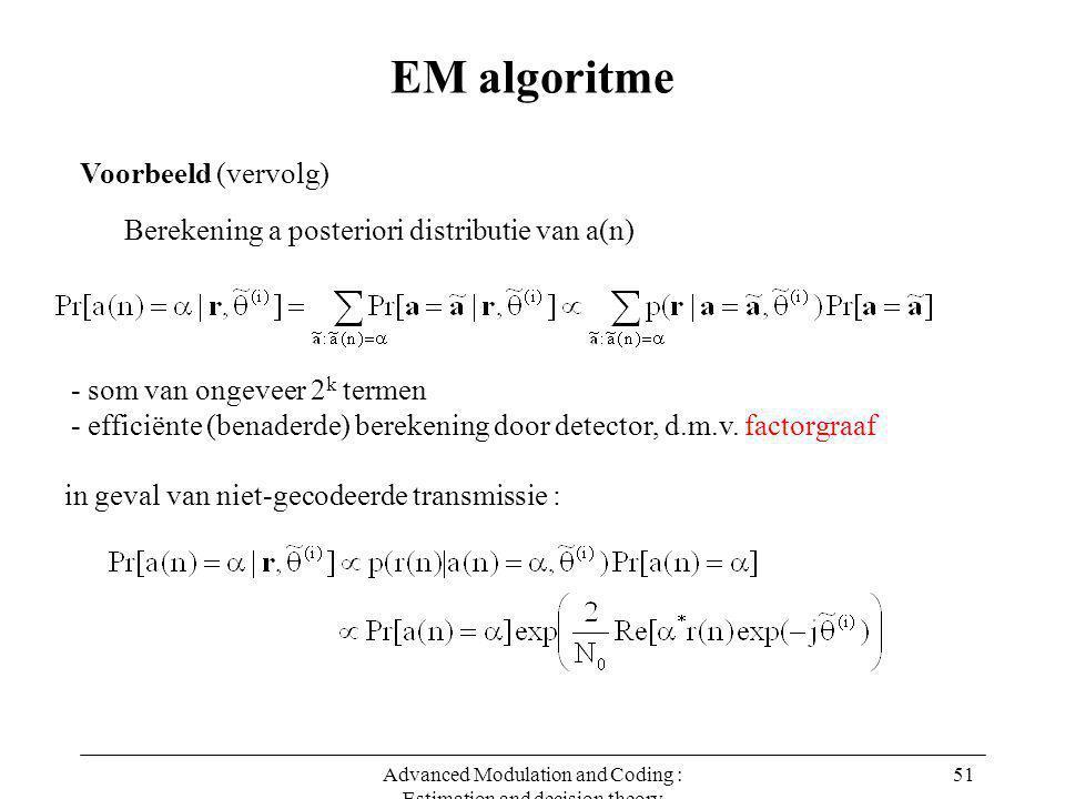 Advanced Modulation and Coding : Estimation and decision theory 51 EM algoritme Voorbeeld (vervolg) Berekening a posteriori distributie van a(n) - som van ongeveer 2 k termen - efficiënte (benaderde) berekening door detector, d.m.v.