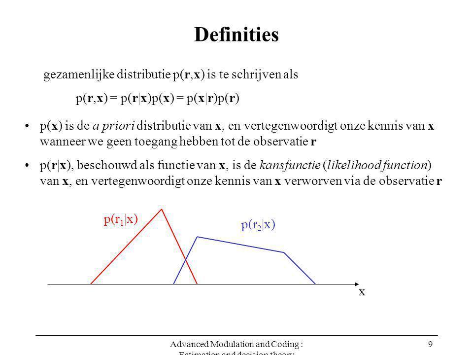 Advanced Modulation and Coding : Estimation and decision theory 10 Definities p(r,x) = p(r|x)p(x) = p(x|r)p(r) gezamenlijke distributie p(r,x) is te schrijven als p(x) is de a priori distributie van x, en vertegenwoordigt onze kennis van x wanneer we geen toegang hebben tot de observatie r p(r|x), beschouwd als functie van x, is de kansfunctie (likelihood function) van x, en vertegenwoordigt onze kennis van x verworven via de observatie r p(r) is de marginale distibutie van r : p(r) hangt niet af van x, en levert dus geen informatie over x