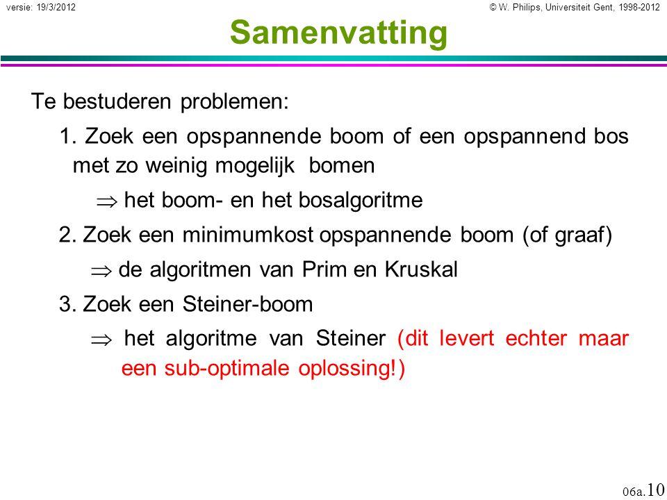 © W. Philips, Universiteit Gent, 1998-2012 versie: 19/3/2012 06a. 10 Samenvatting Te bestuderen problemen: 1. Zoek een opspannende boom of een opspann