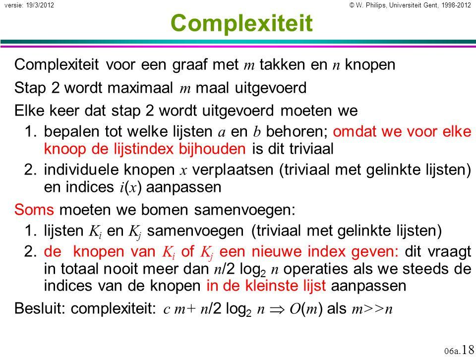© W. Philips, Universiteit Gent, 1998-2012 versie: 19/3/2012 06a. 18 Complexiteit Complexiteit voor een graaf met m takken en n knopen Stap 2 wordt ma
