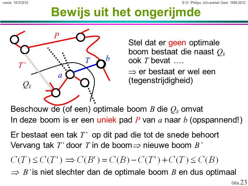© W. Philips, Universiteit Gent, 1998-2012 versie: 19/3/2012 06a. 23 Bewijs uit het ongerijmde Beschouw de (of een) optimale boom B die Q k omvat In d