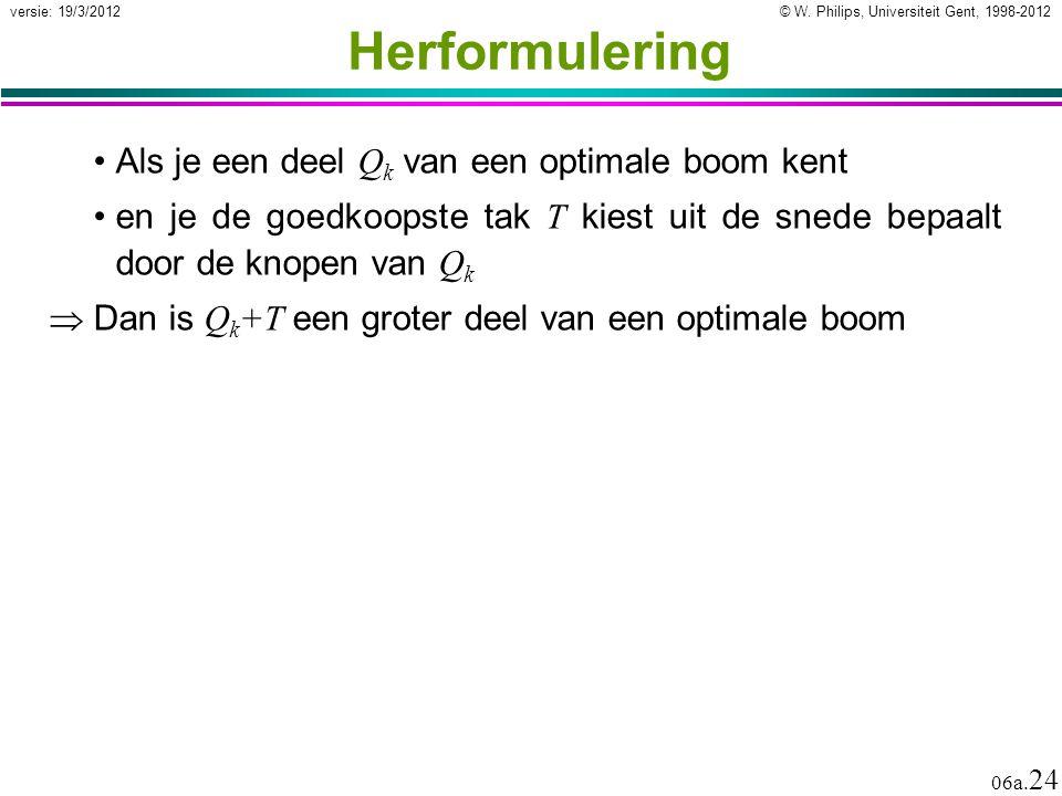 © W. Philips, Universiteit Gent, 1998-2012 versie: 19/3/2012 06a. 24 Herformulering Als je een deel Q k van een optimale boom kent en je de goedkoopst