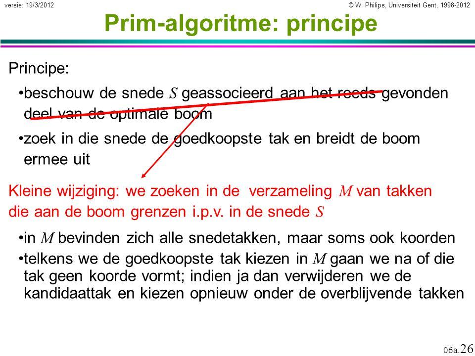 © W. Philips, Universiteit Gent, 1998-2012 versie: 19/3/2012 06a. 26 Prim-algoritme: principe Principe: beschouw de snede S geassocieerd aan het reeds