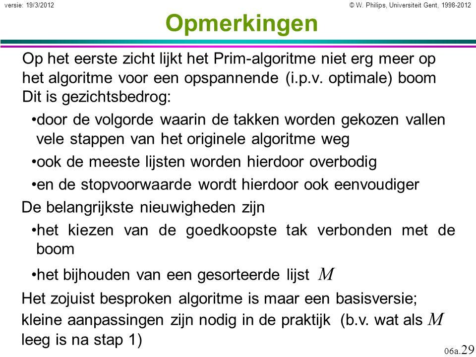 © W. Philips, Universiteit Gent, 1998-2012 versie: 19/3/2012 06a. 29 Opmerkingen Op het eerste zicht lijkt het Prim-algoritme niet erg meer op het alg