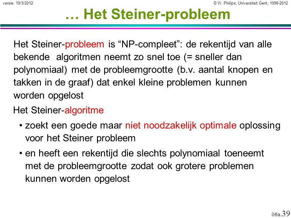 """© W. Philips, Universiteit Gent, 1998-2012 versie: 19/3/2012 06a. 39 … Het Steiner-probleem Het Steiner-probleem is """"NP-compleet"""": de rekentijd van al"""