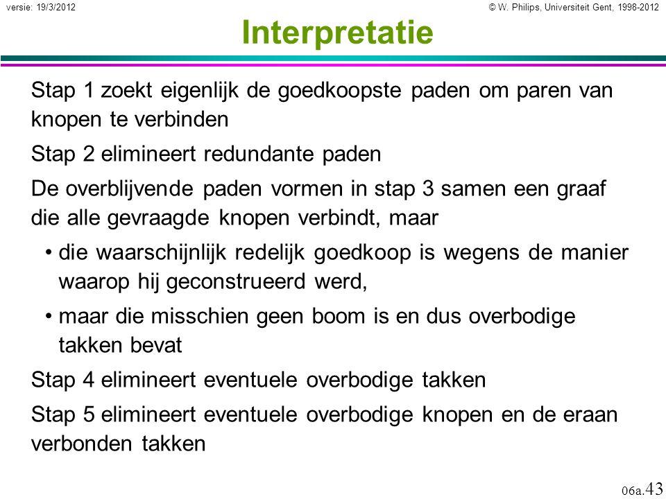 © W. Philips, Universiteit Gent, 1998-2012 versie: 19/3/2012 06a. 43 Interpretatie Stap 1 zoekt eigenlijk de goedkoopste paden om paren van knopen te