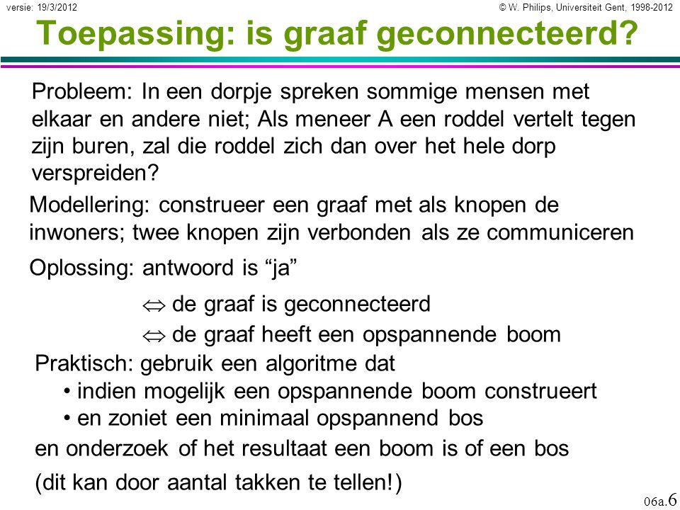 © W. Philips, Universiteit Gent, 1998-2012 versie: 19/3/2012 06a. 6 Toepassing: is graaf geconnecteerd? Probleem: In een dorpje spreken sommige mensen