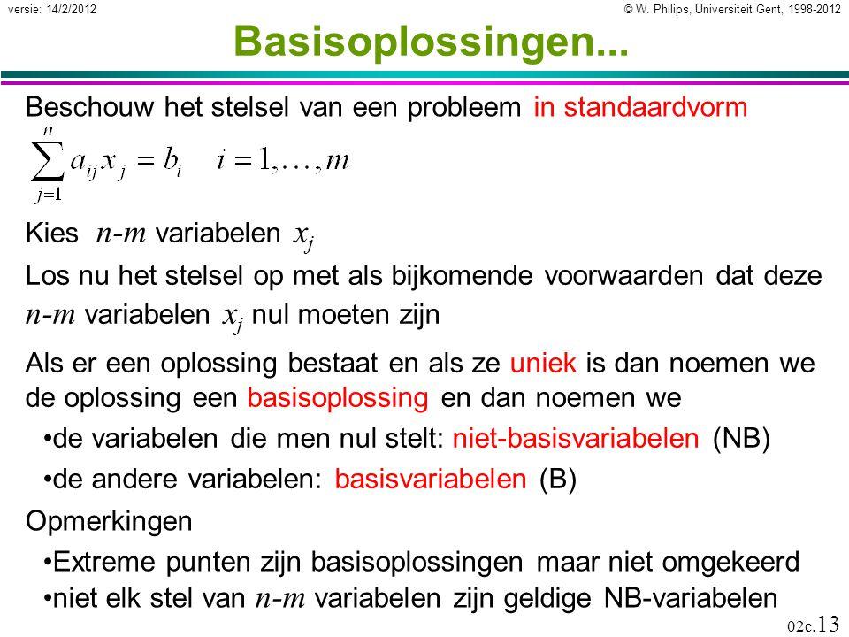 © W. Philips, Universiteit Gent, 1998-2012versie: 14/2/2012 02c. 13 Beschouw het stelsel van een probleem in standaardvorm Basisoplossingen... Kies n-