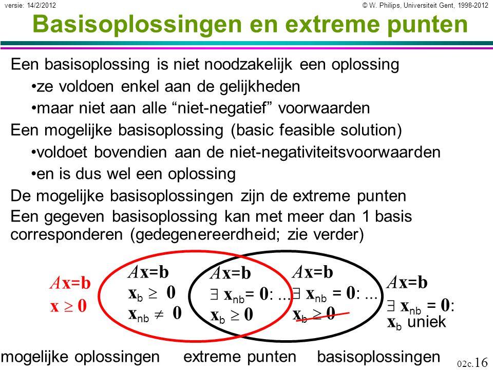 © W. Philips, Universiteit Gent, 1998-2012versie: 14/2/2012 02c. 16 Basisoplossingen en extreme punten Een basisoplossing is niet noodzakelijk een opl