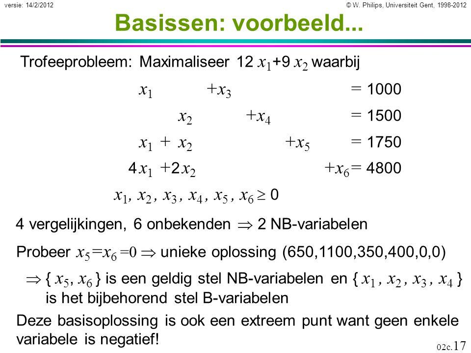 © W. Philips, Universiteit Gent, 1998-2012versie: 14/2/2012 02c. 17 Basissen: voorbeeld... x 1 +x 3 = 1000 x 2 +x 4 = 1500 x 1 +x 2 +x 5 = 1750 4 x 1