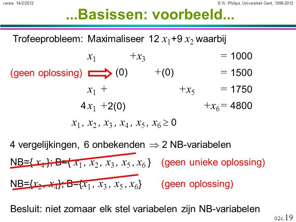 © W. Philips, Universiteit Gent, 1998-2012versie: 14/2/2012 02c. 19...Basissen: voorbeeld... x 1 +x 3 = 1000 x 2 +x 4 = 1500 x 1 +x 2 +x 5 = 1750 4 x