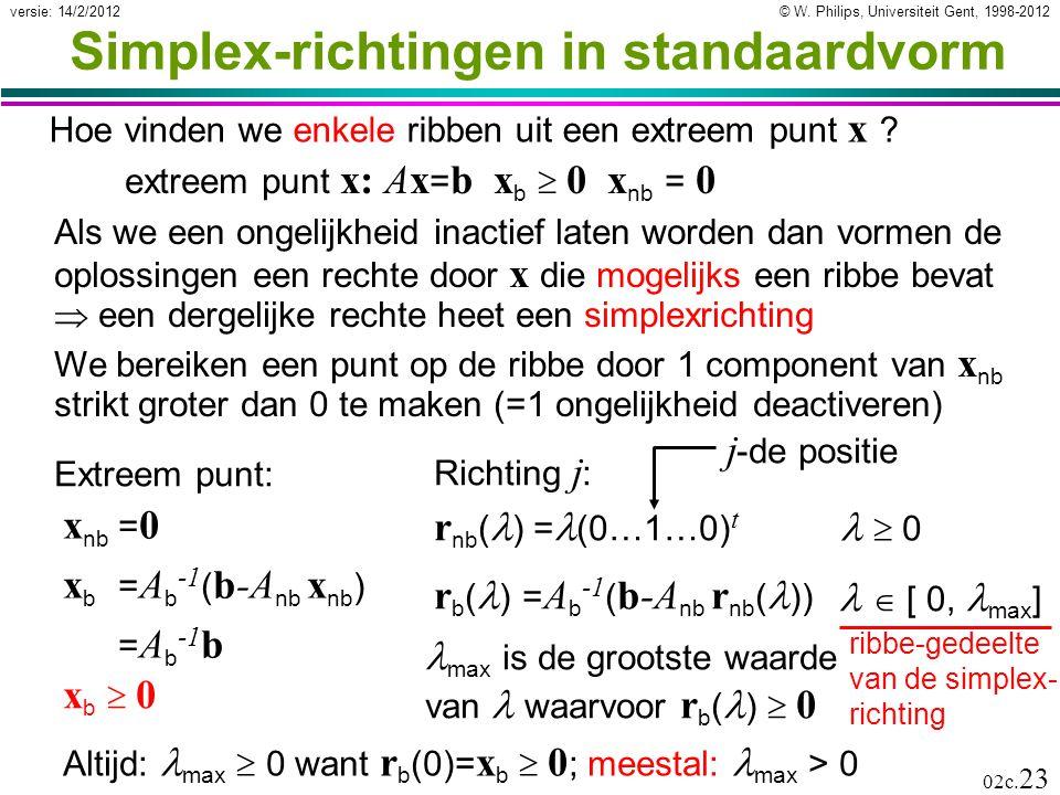 © W. Philips, Universiteit Gent, 1998-2012versie: 14/2/2012 02c. 23 Simplex-richtingen in standaardvorm Hoe vinden we enkele ribben uit een extreem pu